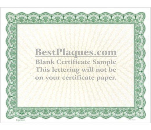 8.5 x 11 Certificate Paper - Green 100 Sheets per Pack .18 Cents Each